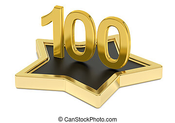 golden number 100 on star podium, award concept. 3D...