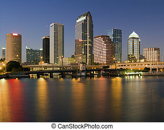 Colorful downtown of Tampa - sunset time