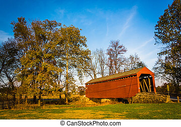Loy's Station Covered Bridge, in rural Frederick County,...
