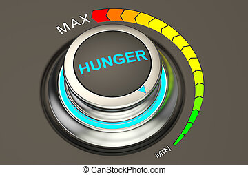 min level of hunger concept, 3D rendering