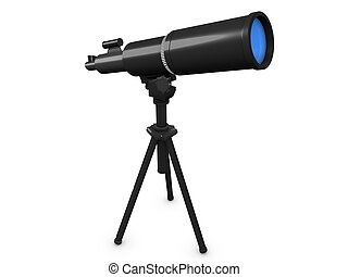 Telescope - 3d image, conceptual astronomy telescope