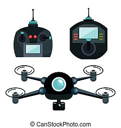 cartoon drone and controls graphic isolated vector...