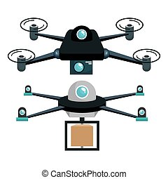 cartoon two drone technology graphic vector illustration eps...