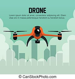 drone fly over city graphic vector illustration eps 10