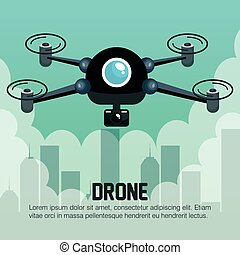 drone flying city graphic