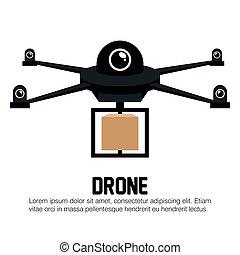 drone black delivery box graphic vector illustration eps 10