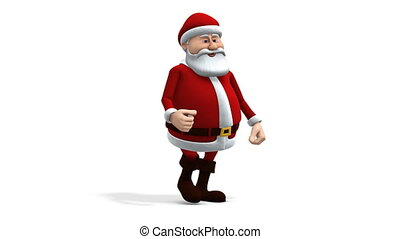 santa walking - side view - cartoon santa claus walking -...