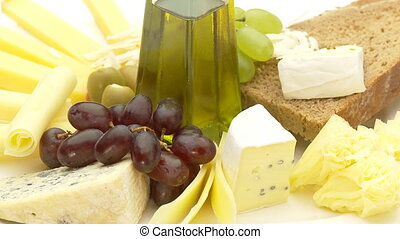 snack plate - deliciouse cheese plate closeup