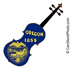 Oregon State Fiddle - A typical violin with Oregon state...