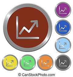 Color line graph buttons - Set of color glossy coin-like...