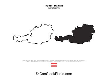 austria - Republic of Austria isolated map and official flag...