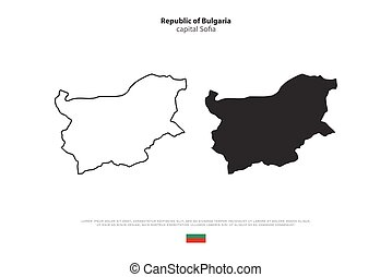 bulgaria - Republic of Bulgaria map and official flag...