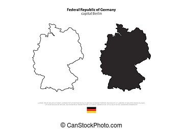 germany - Federal Republic of Germany map outline and...