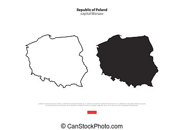 Republic of Poland isolated map and official flag icons....