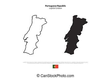 portugal - Portuguese Republic isolated map and official...