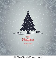 christmas tree winter snowflake background