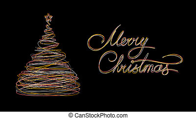 Christmas Tree And Text Marry Christmas Made Of Gold, White,...