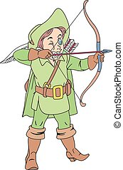 Bowman with a bow - Illustration of Funny Archer with Bow...