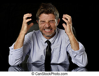 young crazy stressed businessman in worried tired face...
