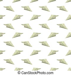 Dollar Paper Concept Plane Seamless Pattern on White...