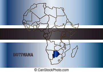 Botswana Isolated On Map - Botswana outline inset into a map...