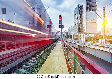 Arrival of the high-speed train. - Modern high-speed train...