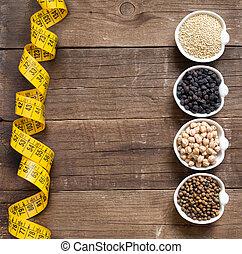 legumbres, cereales, Tazones