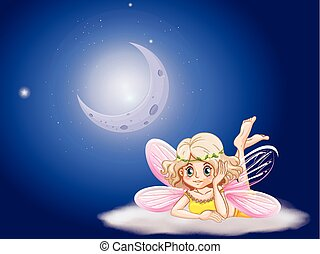 Fairy on cloud at night time