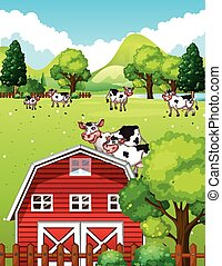Farm scene with cows and barn