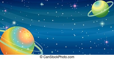 Space scene with two planets  illustration
