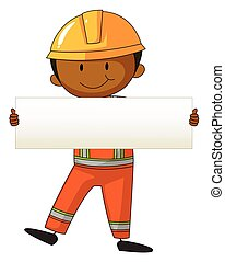 Engineer holding white board illustration