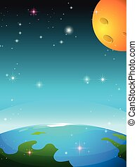 Space scene with earth and moon