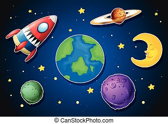 Spaceship and different planets in galaxy