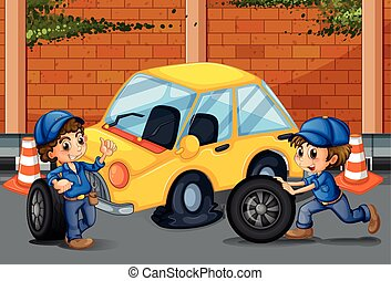 Mechanics changing tyres on the road illustration