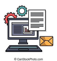 computer email file work siolated vector illustration eps 10