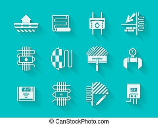 White modern vector icons for house heating - White...