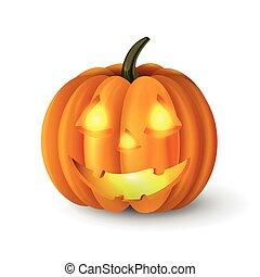 Scary Jack O Lantern halloween pumpkin with candle light...