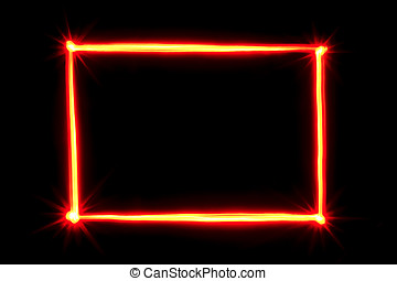 red light painting rectangle frame on black background