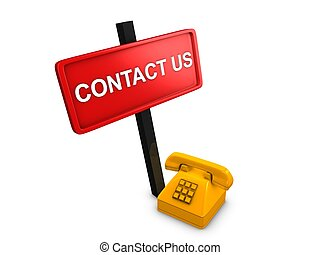 Contact us - 3d image, Contact us over white background