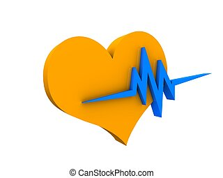 Heart beat - 3d image, Heart beat over white background
