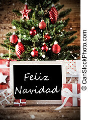 Tree With Feliz Navidad Means Merry Christmas - Christmas...