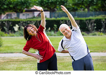 Active Senior Couple Doing Work Out