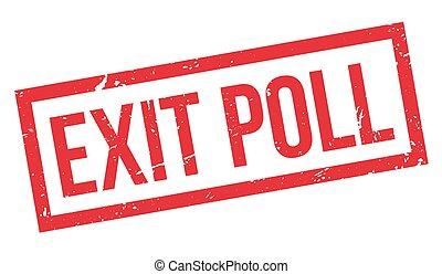 Exit Poll rubber stamp on white. Print, impress, overprint....