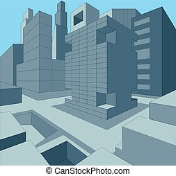 3 dimensional urban cityscape as vector illustration