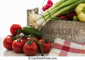 fresh organic vegetables from the garden, tomatoes,...