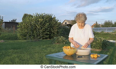 Old woman cleaning chanterelle mushrooms outdoors