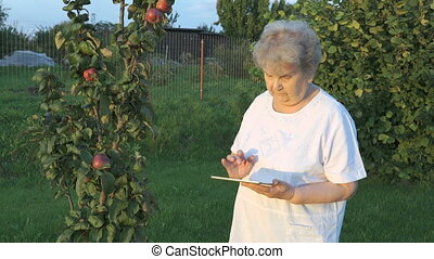 Aged woman 80s holding a digital tablet outdoors - Aged...