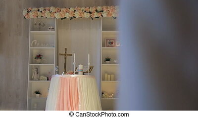 There is beautiful wedding altar decorated to celebration...
