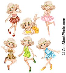 Six fairies in colorful dress illustration
