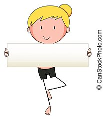 Woman holding white board illustration